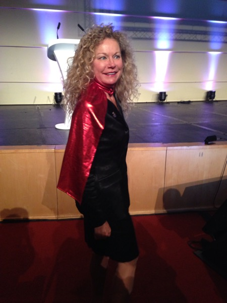 At the International Dental Hygiene Symposium 2013 in Capetown, South Africa wearing superhero cape after Keynote Speech