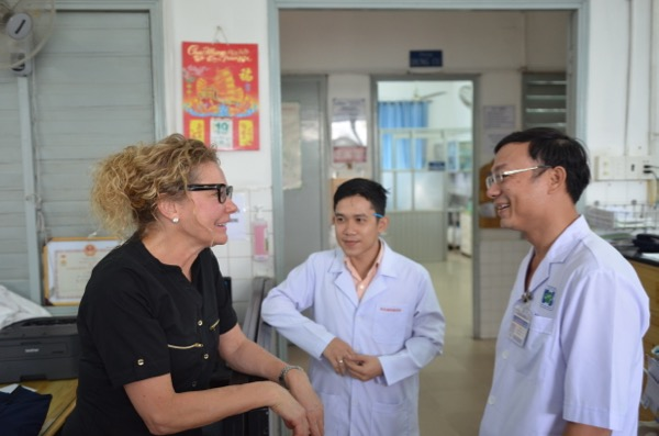 Meeting with Dr. Huy and Dr. Hoang at the Oncology Hospital in Ho Chi Minh City, Vietnam