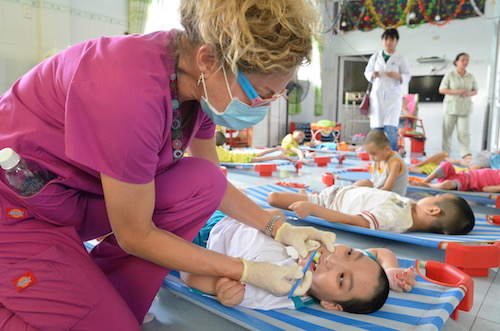 sherry priebe in vietnam for oral health advocacy