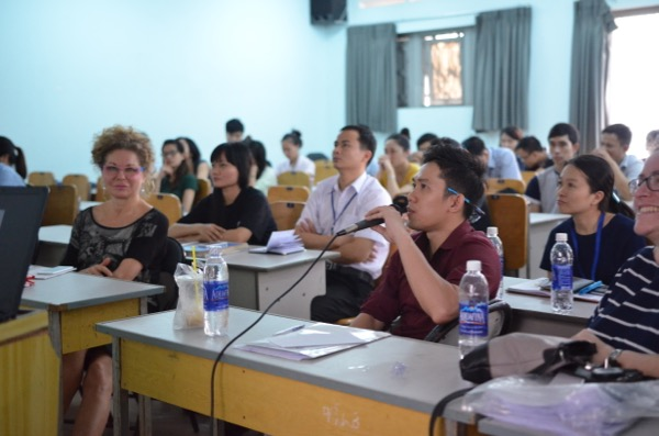 Presenting with translator Dr. Huy at the Dental Hygiene Department of the University of Odonto-Stomatology, HCMCity, VN